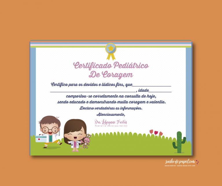 certificado de coragem, papelaria pediatra